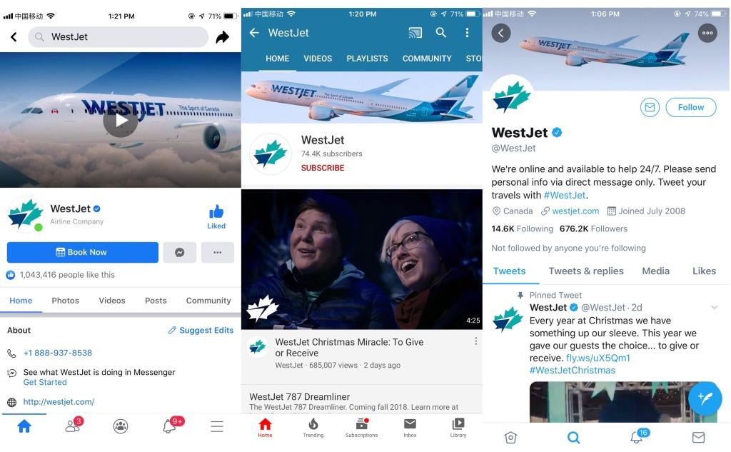 WestJet official account.