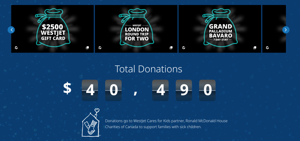 Donation go to WestJet Cares for Kids partener, Ronald McDonald House Charities of Canada.